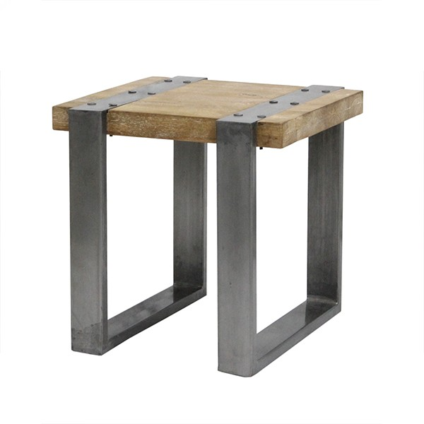 WOOD & IRON END TABLE