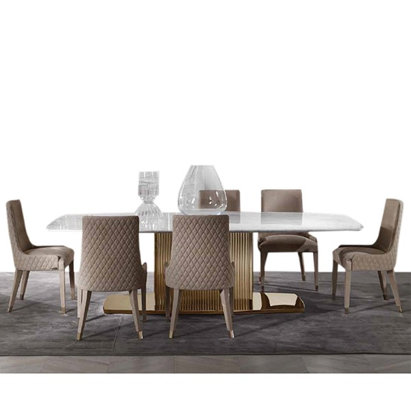 MARBLE DINING TABLE WITH 6 SEATER