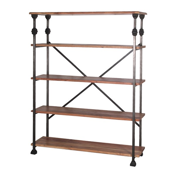 WOOD & IRON WIDE BOOKSHELF